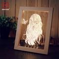 Nova Chegada 3D Photo Frame Criativo Lâmpada de Mesa Madeira + Acrílico quadro Branco Quente Stereo USB Luz Da Noite para o Quarto Do Presente Do Natal