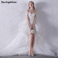 Darlingoddess African Lace Wedding Gowns Sexy Backless Short Front Long Back Boho Wedding Dresses Beach Vestido De Noiva 2017