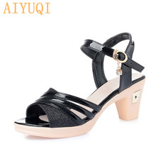 AIYUQI Summer footwear 2019 new womens sandals with heels fashionable summer shoes for women Open toe Roman gold