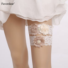 Favordear White lace Three Flowers Wedding Garter with Beaded 2 PC Elastic Band Fashion Bridal Garter Belt for Women/Bride(China)