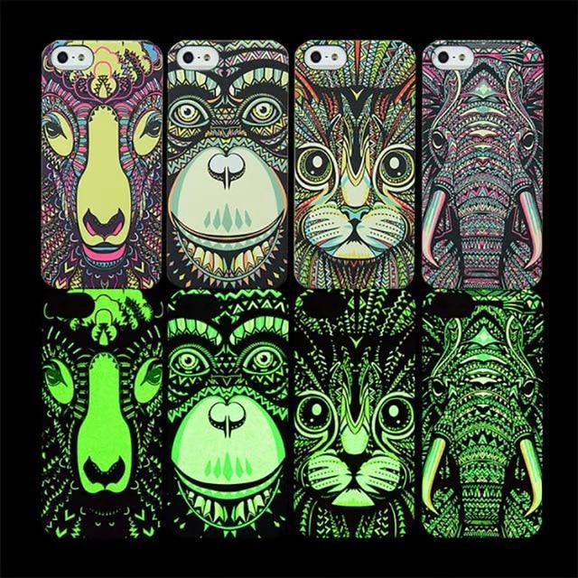 Night Glow Animal Print Case For iPhone 6 6s 6 Plus 6S Plus 5 Light In Dark  Mobile Phone Cases Cover Embossed Handpainting Case 703d072706ca