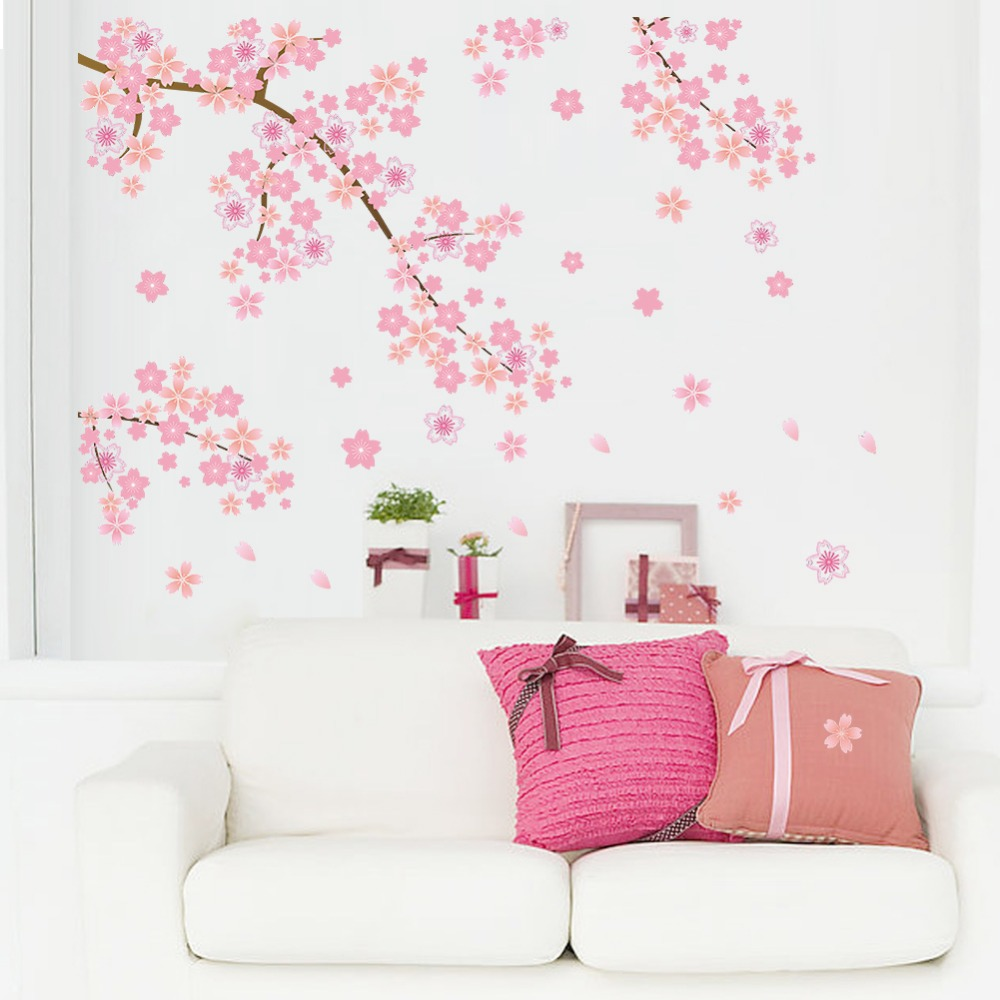 Merah muda Terbang Bunga Sakura Bunga Sakura Latar Belakang Ruang Tamu Dekorasi Wallpaper Sticker Decal Removable