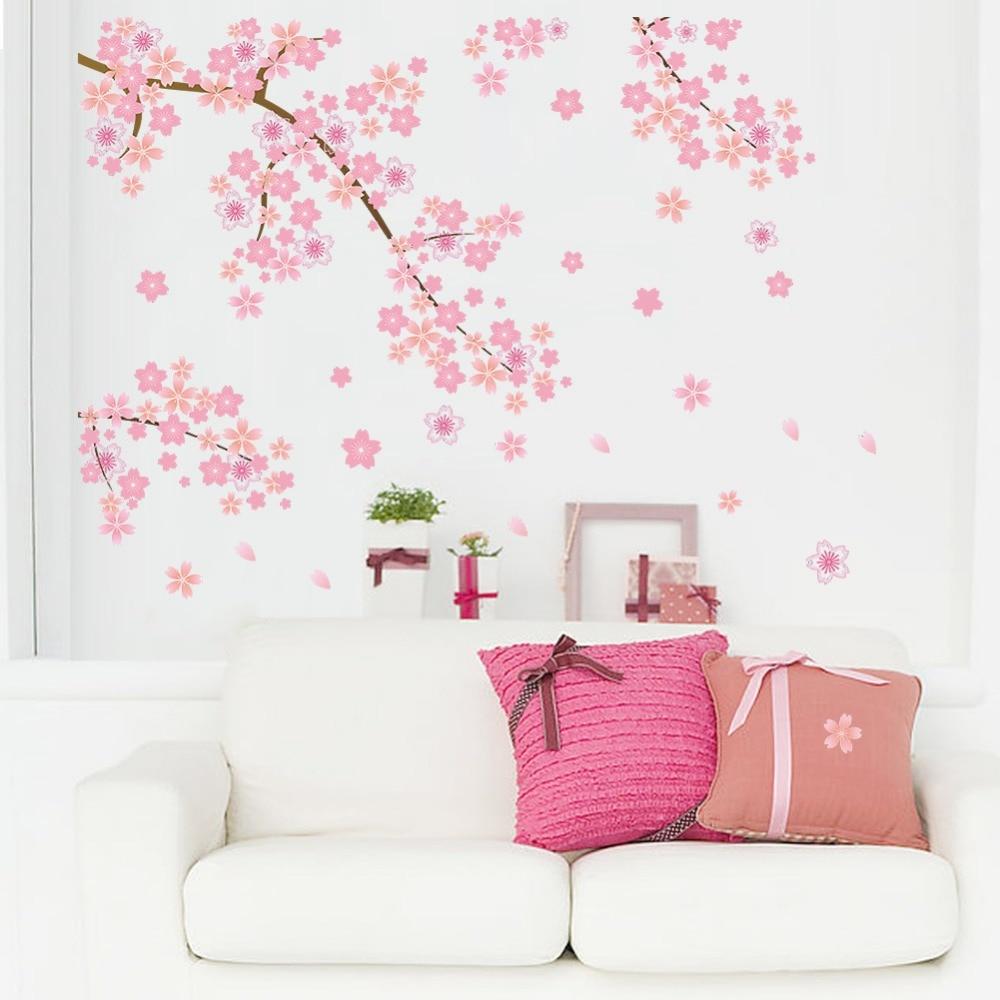 Pink Flying Flower Sakura Cherry Blossoms Backdrop Living Room