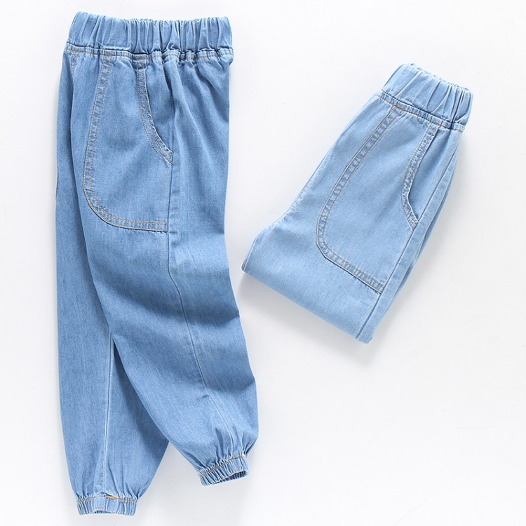DZIECKO Baby Boys Clothing Cowboy Jean Pants Summer Soft Denim Harem Pants Elastic Waist Solid Color Sport Boys Clothes Outfit(China)