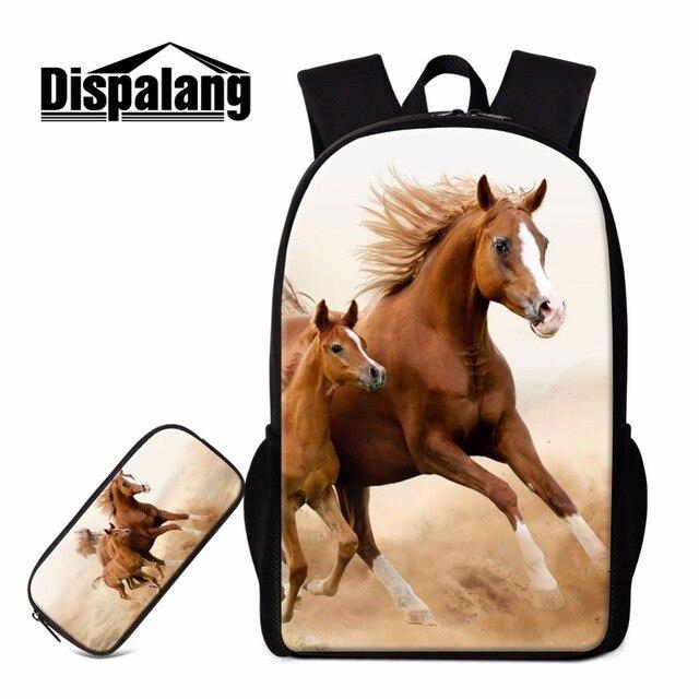 40e8051a55641 Dispalang Konia Drukowania Plecaki Szkolne dla Dziewczyn Nastolatek Chłopcy  Fajne Zwierząt Bookbags Śliczne Lekki Plecak Torba