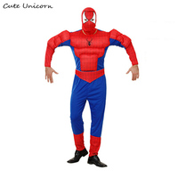 Spiderman adults Muscle Jumpsuits + head cap Avengers Spider Man Onesies Halloween Cosplay Costume Movie Superhero mens Clothes