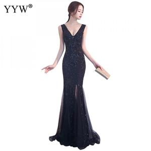 Image 2 - エレガントなスパンコール女性の高級ロングイブニングドレスフォーマルドレスクラブパーティー vestidos 刺繍チャイナ伝統的な中国マーメイドドレス
