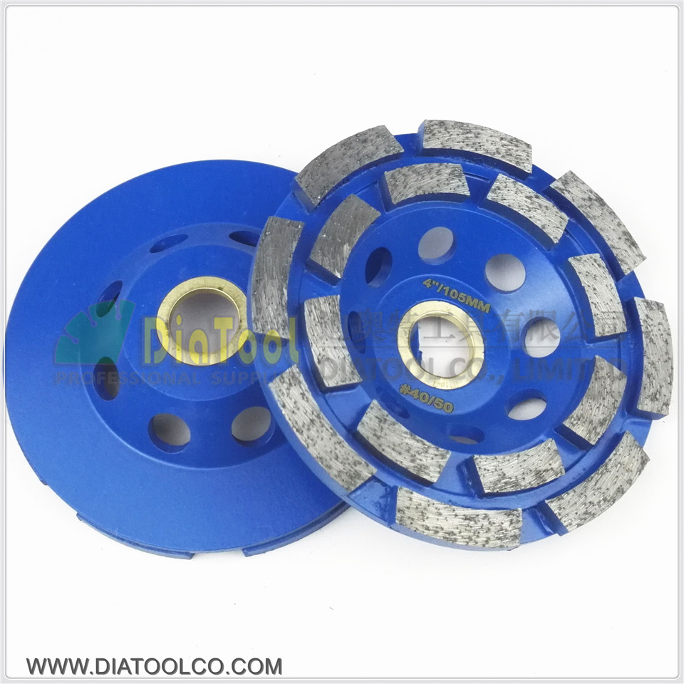 DIATOOL 2PK Diameter 100mm Diamond Double Row Grinding Cup Wheel For Granite And Hard Material, Bore 22.23mm With 16mm Washer