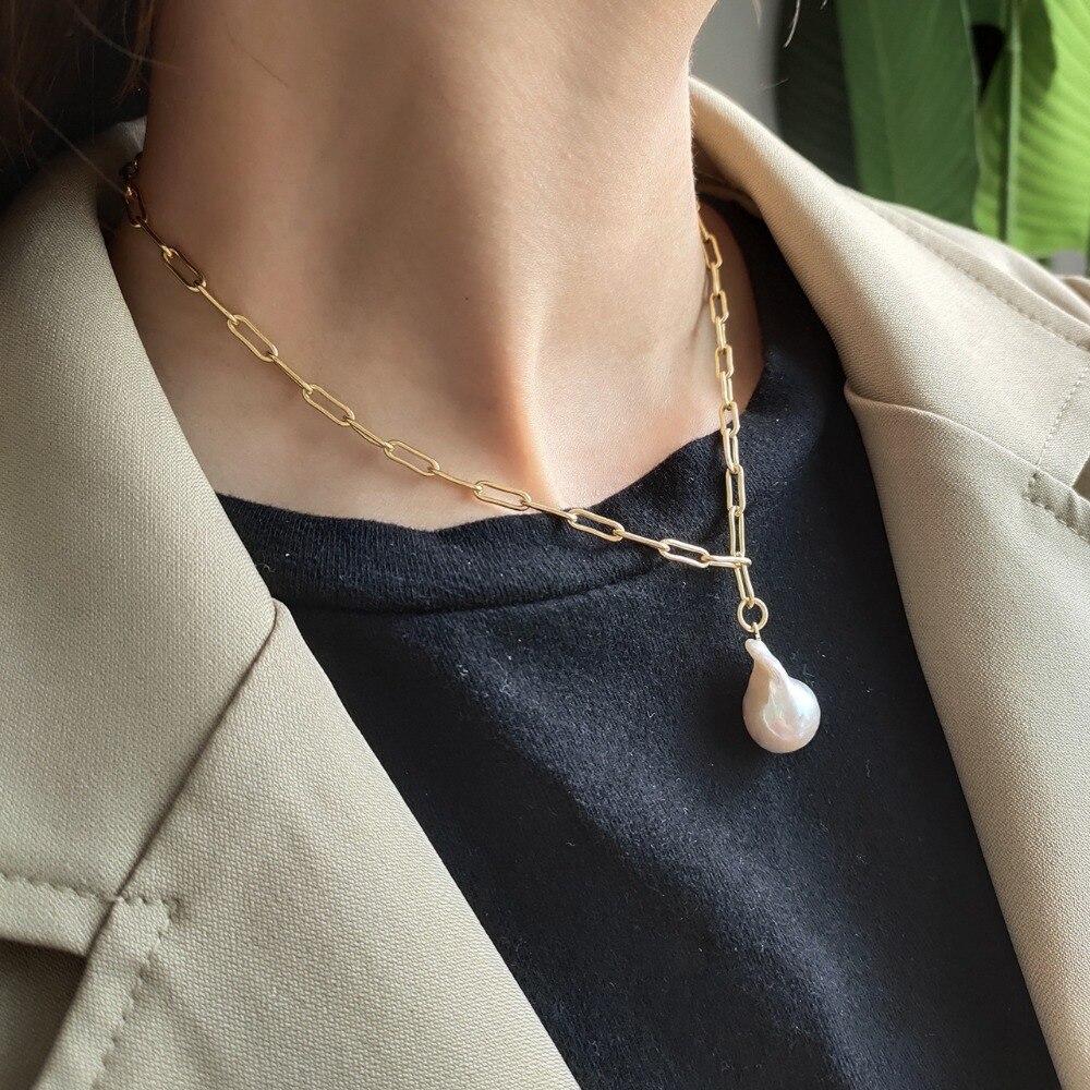 2019 Baroque Choker perle pendentif collier pour les femmes couleur d'or réel 925 Sterling argent collier 2019 bijoux de fête