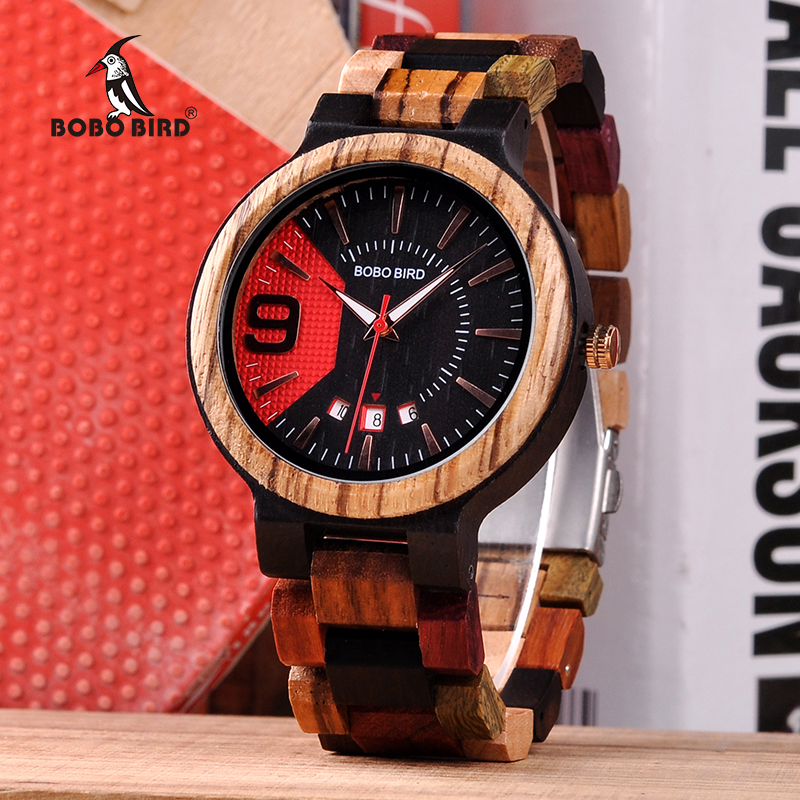 BOBO BIRD Wooden Watch Men Show Date Qartz Wristwatch Male relojes hombre Clock Colorful Strap Wooden Box saat erkek Drop Ship drop ship acceptable tree bird