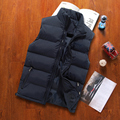 Autumn and Winter Lovers Cotton Down Vest Male Plus Size Thickening Vest Male Stand Collar Zipper Vest Outerwear