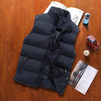 Autumn And Winter Lovers Cotton Down Vest Male Plus Size Thickening Vest Male Stand Collar Zipper