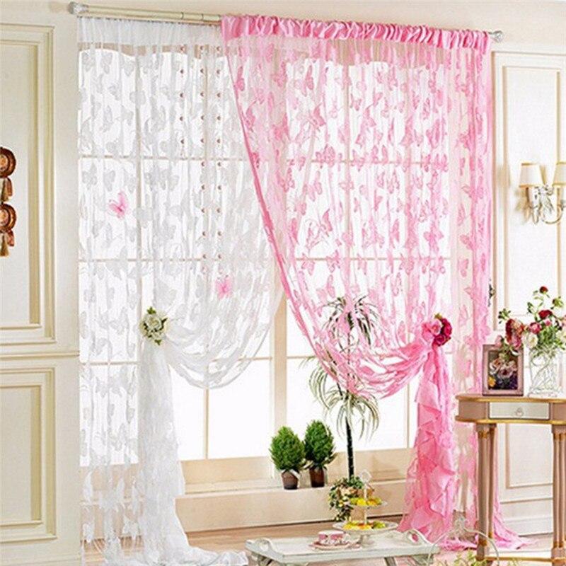 1 Pc Butterfly Tulle Gordijnen Gordijn Voor Woonkamer Slaapkamer Gordijnen En Vitrages Gordijnen Sheer Voile Cortinas Delicious In Taste