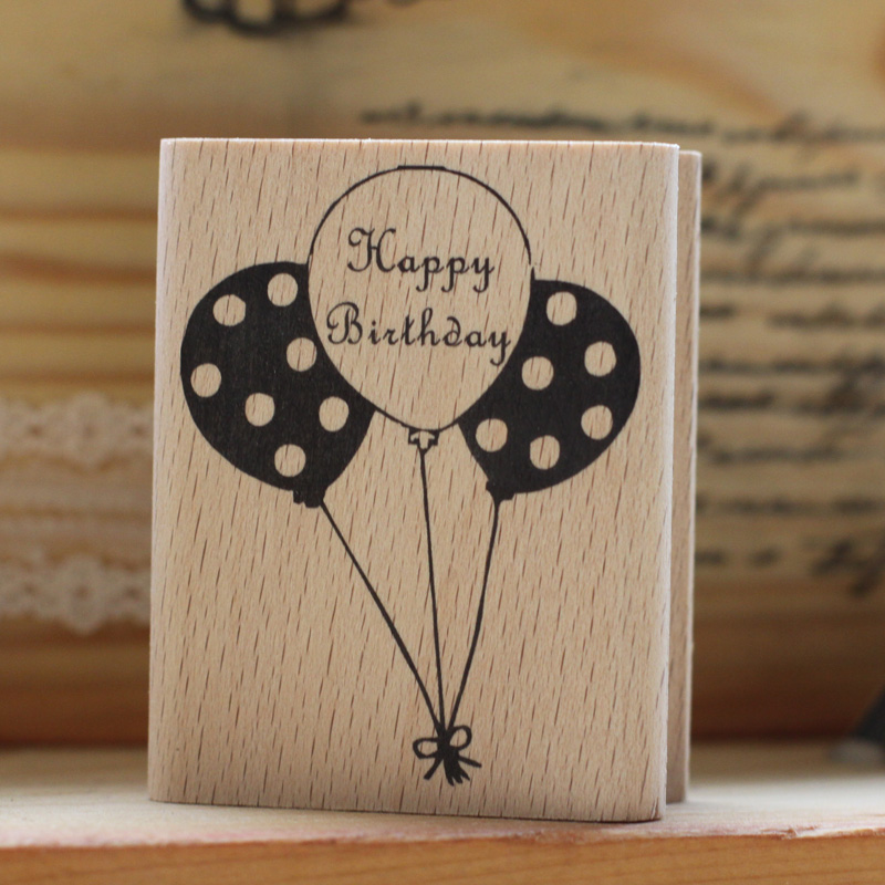 High quality happy birthday ballons 6.5*5cm rubber stamp, timbri scrapbooking rubber stamps carimbo For card diy stempel handmade vintage towel 7 4cm tinta sellos craft wooden rubber stamps for scrapbooking carimbo timbri stempel wood silicone stamp