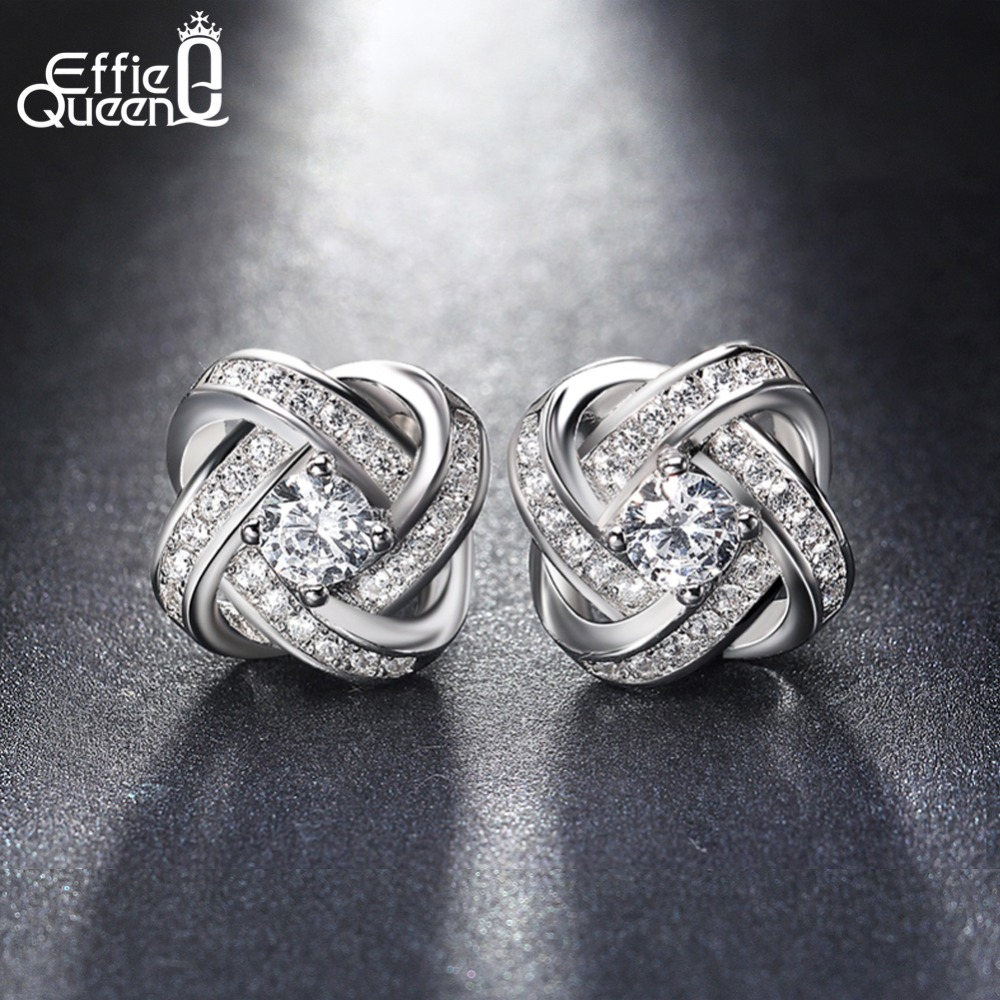 Effie Queen Trendy Authentic 925 Sterling Silver Dazzling Flower Stud Earrings With Clear CZ Fashion Jewelry for Girls BE23