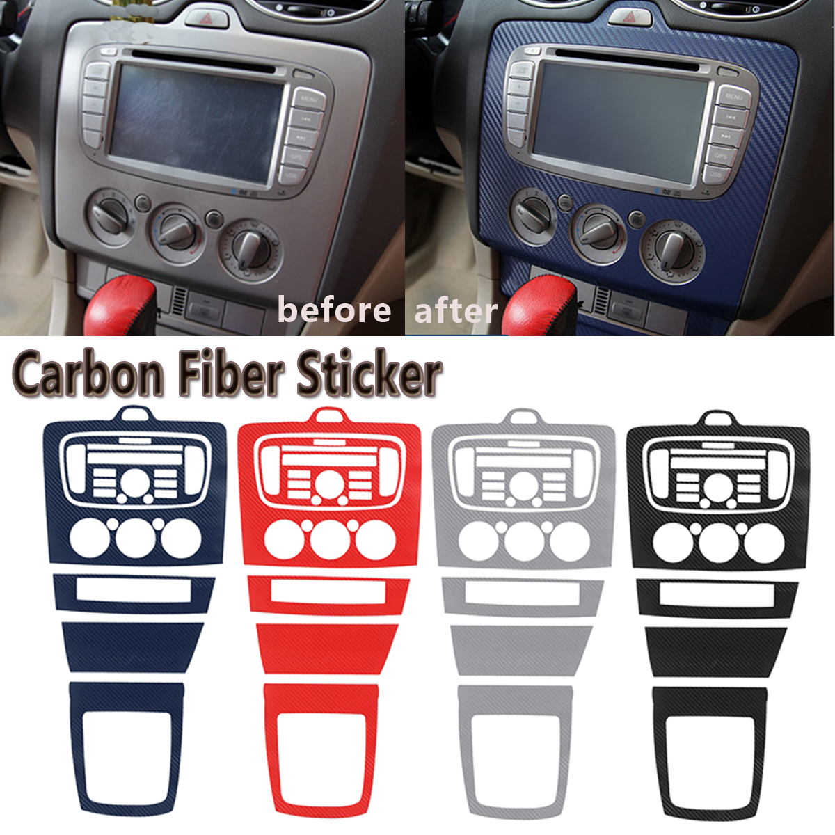 Car Central Control Panel Sticker 3D Carbon Fiber Decoration Trim Cover For Ford For Focus 2 Mk2 2009-2016 Car Styling