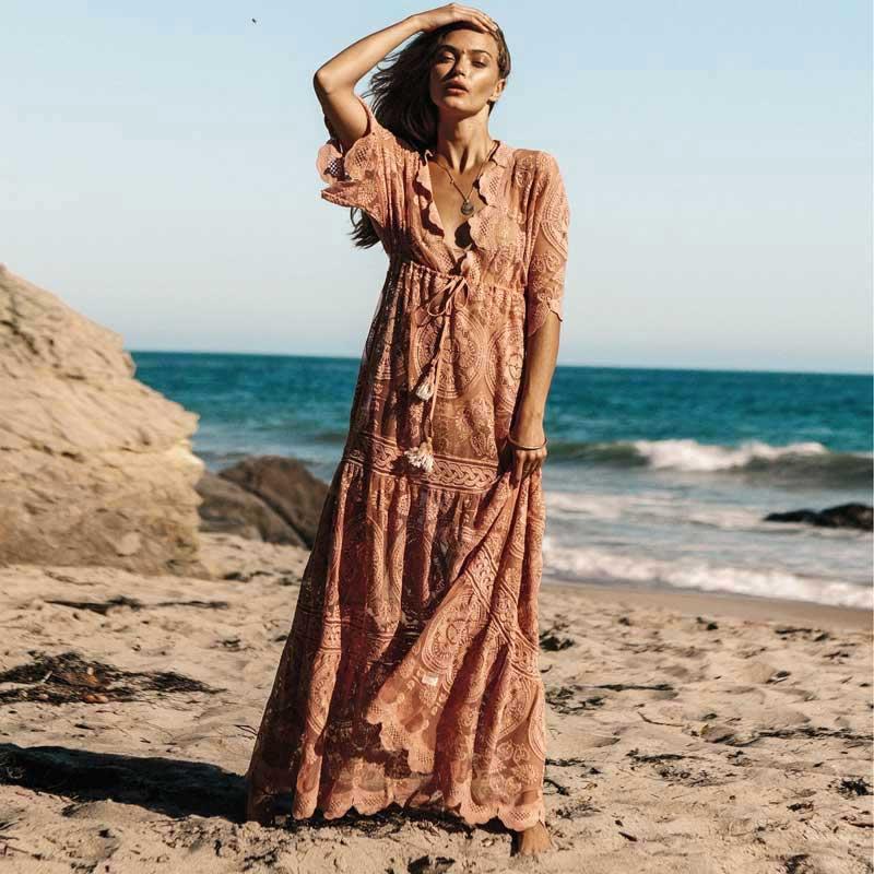 KHALEE YOSE été dentelle Boho plage Maxi robes femmes taille élastique grande taille col en V transparent Sexy Vintage plage longue robe 2XL