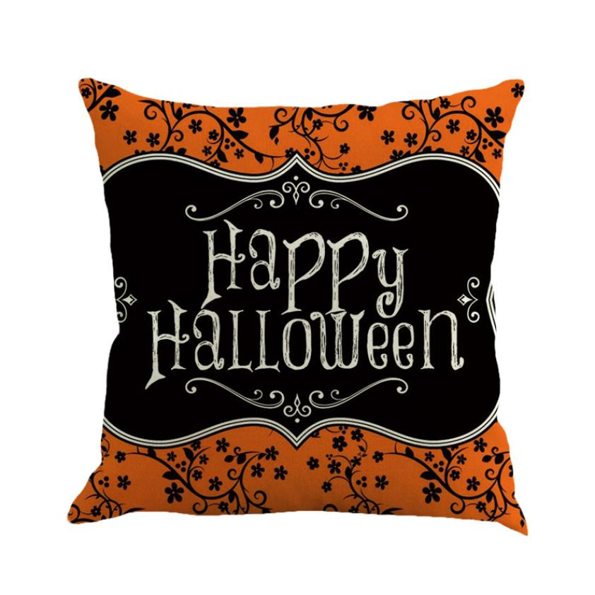 2018Happy Halloween Pillow Cases Linen Sofa Cushion Cover Home Decor F#823