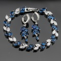Blue Created Sapphire White CZ Silver Color Jewelry Sets For Women Newest Earrings Bracelet Free Jewelry Box