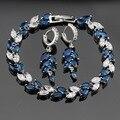 Azul Criado Sapphire Branco CZ Conjuntos de Jóias de Cor Prata Para As Mulheres Mais Novo Brincos Pulseira Caixa de Jóias Livre