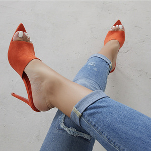 Image 2 - Pointed Toe High Heel Slippers High Heel Slippers Sandals Woman Shoes Sandalias Candy Orange Blue Black Yellow 2019 Summer New