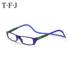TFJ Wholesale 10pcs/lot Multi-color Magnetic Reading Glasses Folding Reader Neck Hanging Eye Free Shipping
