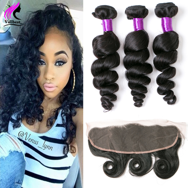 Peruvian Virgin Hair Loose Wave With Lace Closure 7A Lace Frontal Closure With Bundles Loose Wave 3 Bundles With Frontal Closure