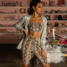1c3b9598ab1 Snakeskin Sets Shorts 2019 Women 2 Pieces Sexy Set Winter Spring Print Crop  Tops Fitnessclub Elastic