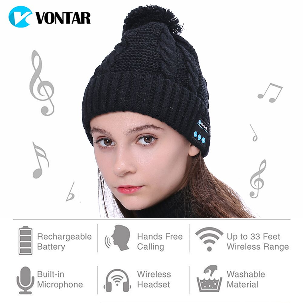 VONTAR MK-1 MK-2 Headset Soft Fashion Warm Hat Wireless Bluetooth Headphones Smart Cap Speaker with Mic Bluetooth Christmas gift wireless bluetooth music beanie cap stereo headset to answer the call of hat speaker mic knitted cap