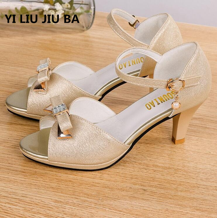 Hot Sale Summer Shoes Woman Sandals Mid Heel Women Shoes Open Toe Sandals Casual Bow Beading Wedding Sandals Zapatos Mujer **300