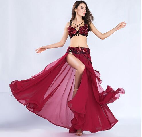 2018 New Belly Dance Suit Set 3 Pcs (bra Belt Long Skirt) Mesh + Rhinestone Oriental Skirt Set For Dancing Outfit 8803