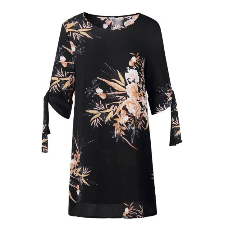 2019 Women Casual Short Floral Print Dress Fashion Half Sleeve Straight Big Size Dress Summer Plus Size Beach Sundress in Dresses from Women 39 s Clothing