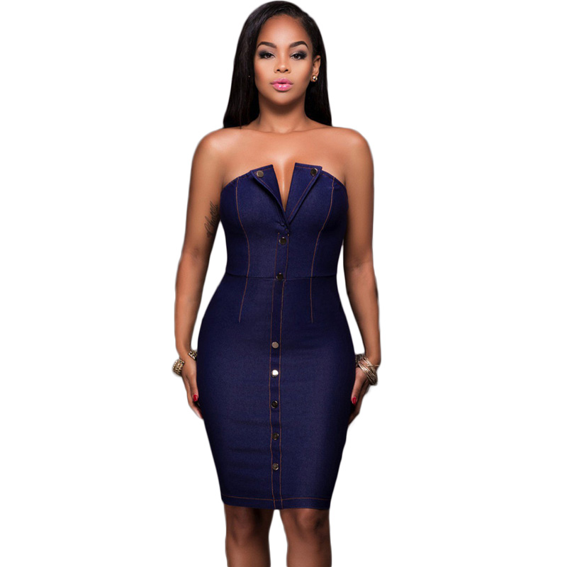 Popular Strapless Jean Dress-Buy Cheap Strapless Jean Dress lots ...