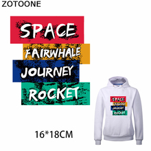 ZOTOONE Stylish Letters Iron on Patches Applique Journey Sticker Clothes Heat Transfer Washable Application As A Gift