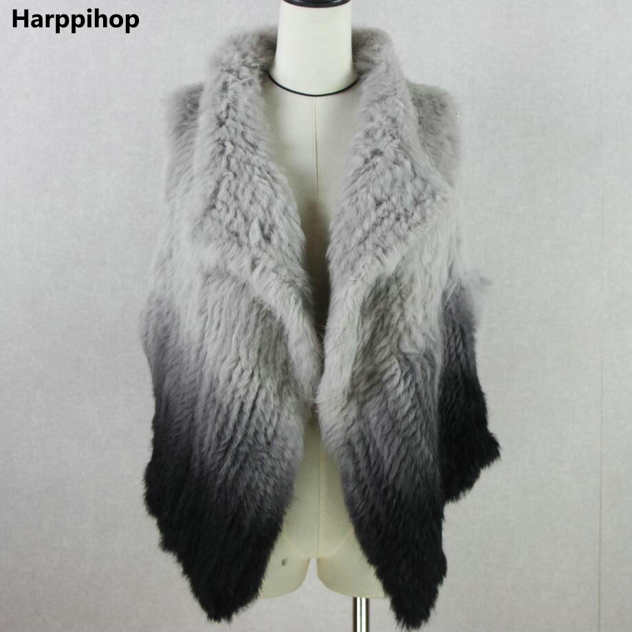 Knitted knit new real rabbit fur vest overcoat jacket women