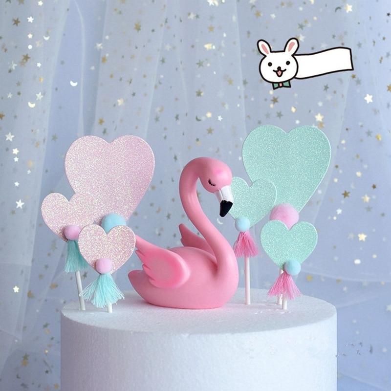 100% Kwaliteit 3 Pcs Flamingo Hart Kwastje Pompom Cake Topper Kaart Geplaatst Dessert Cupcake Verjaardag Eenhoorn Partij Bruiloft Decoraties