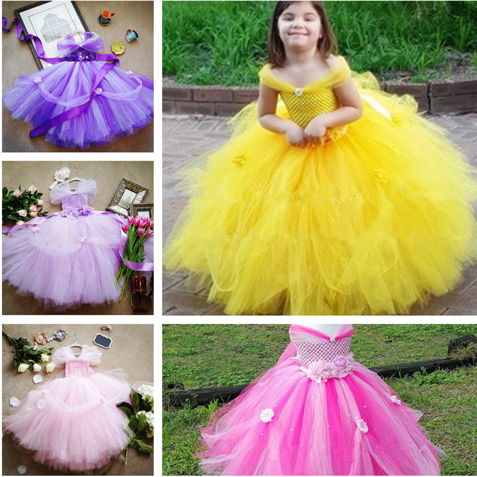 Little Girls Princess Tutu Dress Kids Crochet Tulle Tail Dress Ball Gown with Flower Headband Children Bell Wedding Party Dress gorgeous pink and white girls tutu dress with headband princess birthday party wedding costume photo props tulle dress ts110