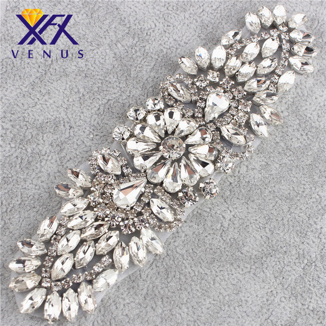 XINFANGXIU Hot fix clear shiny glass stones rhinestone applique crystal  appliques for dresses DIY handmade dress bags shoes 8c170cafd999