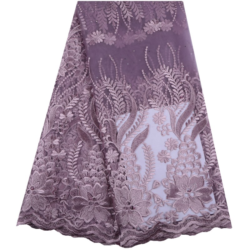 New Arrival African Lace Fabrics Onion Color Nigerian Lace Fabric 2019 High Quality French Lace Fabric