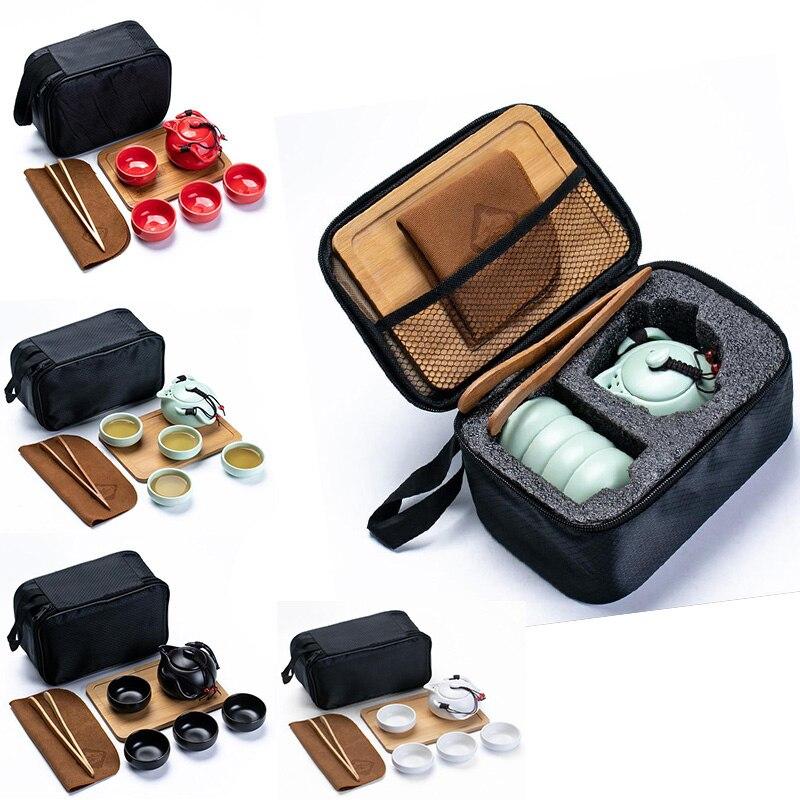 사용자 정의 중국어 쿵푸 차 세트 세라믹 휴대용 주전자 세트 야외 여행 가이완 차 컵 차 의식 찻잔 좋은 선물