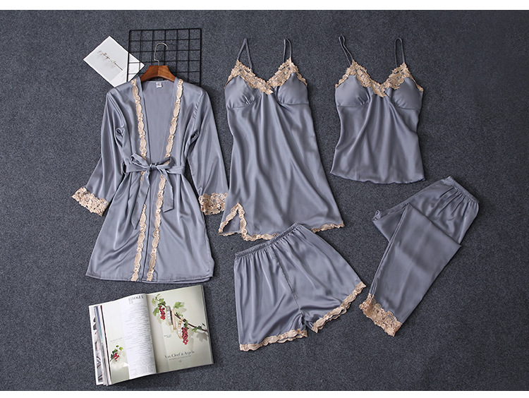 HTB1elyfTYvpK1RjSZPiq6zmwXXaH - Pajama Sets Women pajamas nightgown Silk like sleepwear for women Robes babydolls women pajamas set 5pcs/set pajamas lingerie