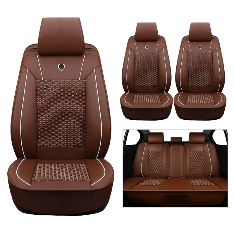 Alta calidad (cuero + seda) coche Fundas de asientos para Audi A1 A3 A4 B5 B6 B7 B8 A5 A6 C5 C6 Q3 Q5 Q7 TT coches accesorios-estilo auto