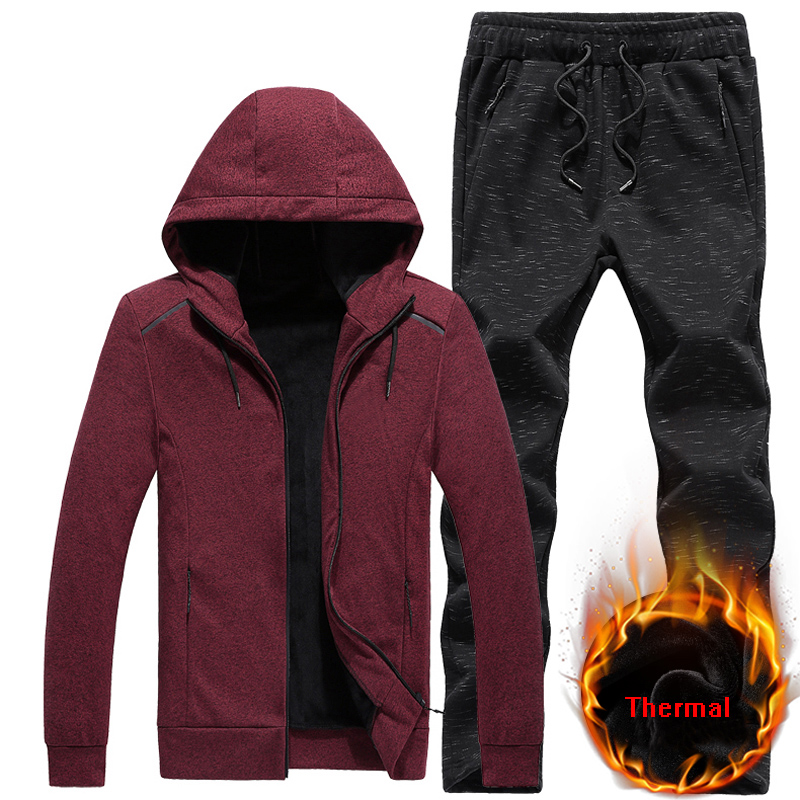 Warm Sportsuits Sets Men Hoodies Suits Color Cotton Fleece Fabric Man Tracksuit 7XL 8XL Sportswear Running Sets Gym Sport Suit men plus size 4xl 5xl 6xl 7xl 8xl 9xl winter pant sport fleece lined softshell warm outdoor climbing snow soft shell pant