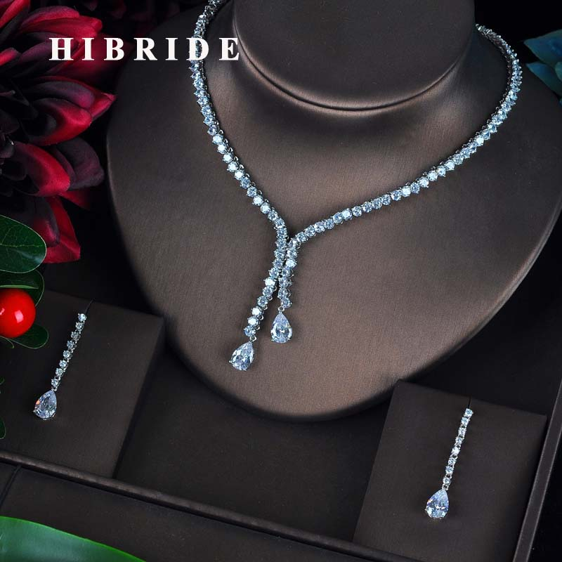 HIBRIDE New Design Bridal Jewelry Sets Women Water Drop Design Necklace Earrings Bijoux Set Party Wedding Gift Wholesale N-596HIBRIDE New Design Bridal Jewelry Sets Women Water Drop Design Necklace Earrings Bijoux Set Party Wedding Gift Wholesale N-596