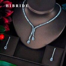 Hibride 새로운 디자인 신부 보석 세트 여성 워터 드롭 디자인 목걸이 귀걸이 bijoux 세트 파티 웨딩 선물 도매 N 596