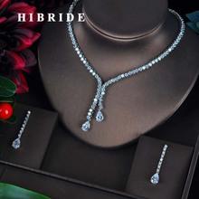 Hibride novo design conjuntos de jóias de noiva feminino gota de água design colar brincos bijoux conjunto festa presente de casamento por atacado N 596