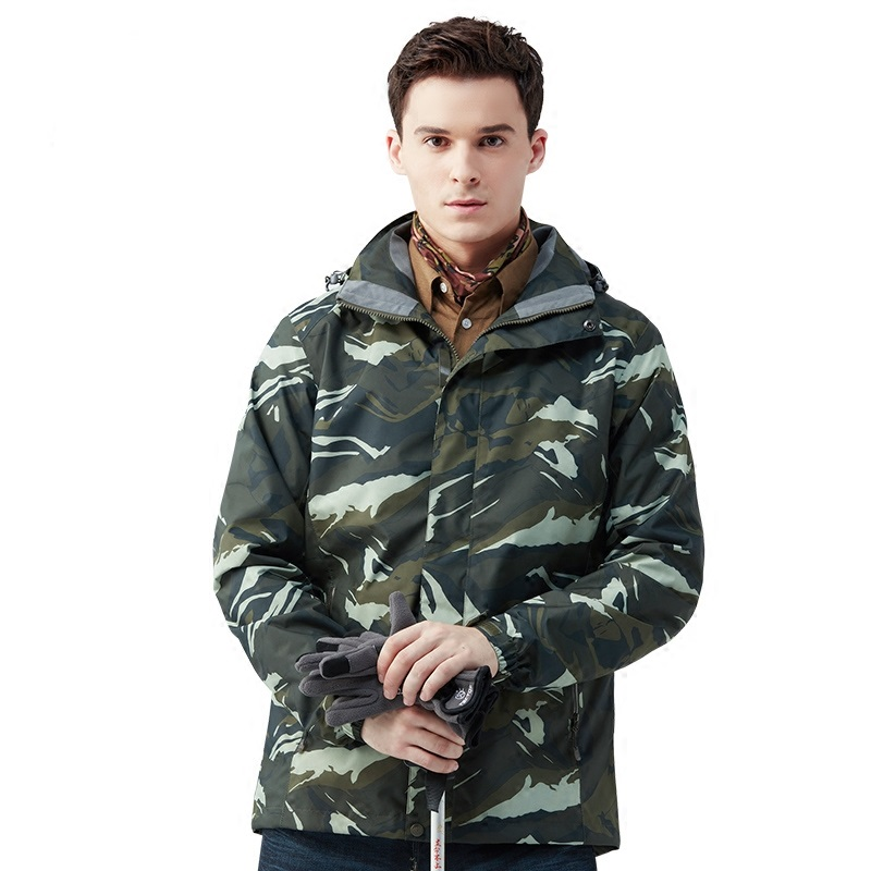 New Tectop Outdoor Men Winter 3 in 1 Hiking Jackets Male Thermal Polar Fleece Inner Two-piece Camouflage Coats For Skiing Hiking