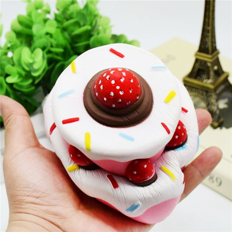 Amiable Cute Soft Cheap Squishy Kawaii 2-layer Strawberry Cake Toy Slow Rising For Relieves Stress Anxiety Home Decompression Fun Toys Mobile Phone Accessories