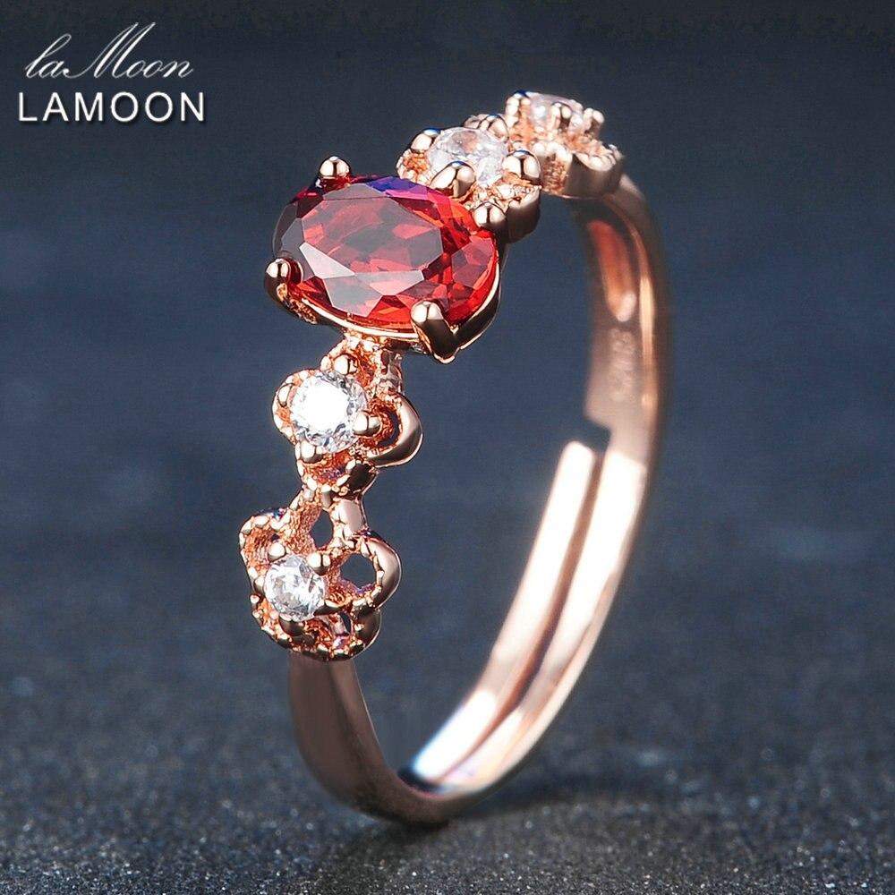 LAMOON Стерлингового Серебра 925 Обручальные Кольца Для Женщин 100% Природный Овальный Красный Гранат S925 Кольцо Романтический Цветок Anillos RI045