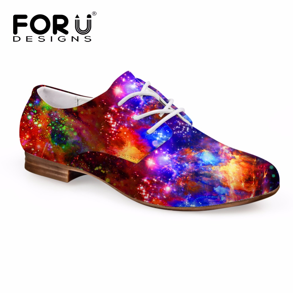 FORUDESIGNS 2018 New Arrival Women Casual Flat Shoes Fashion Galaxy Leather Oxfords Shoes for Woman High